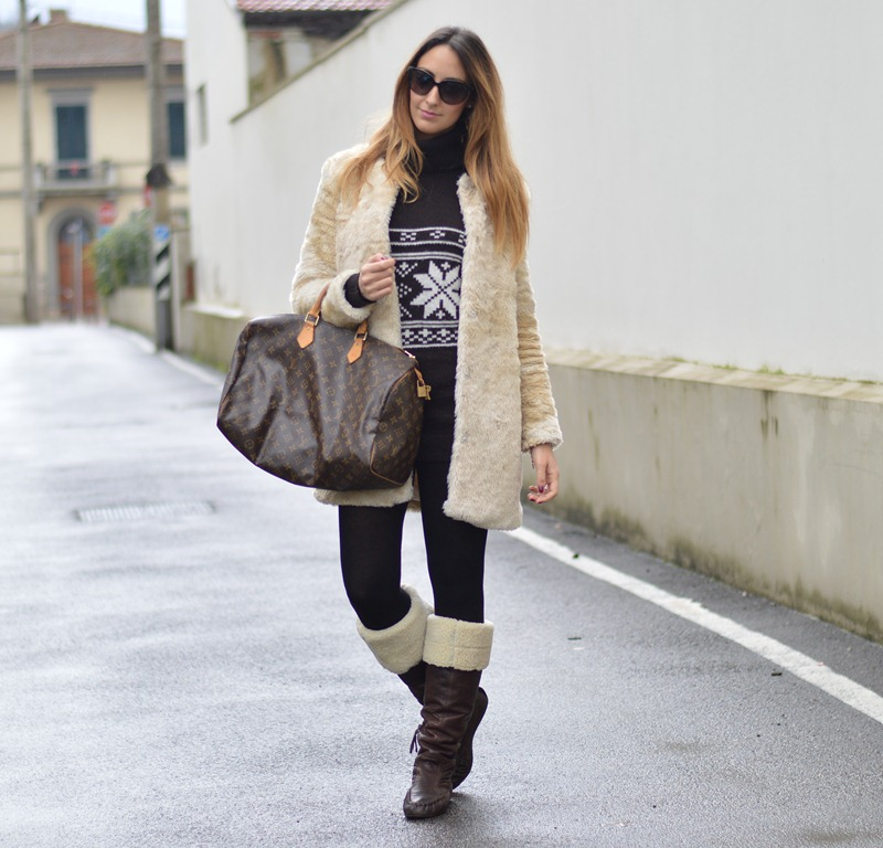 Louis Vuitton bag, Louis Vuitton Speedy 40 bag, Outfit, Look of the day, Miu Miu boots, Shearling boots, fashion blogger, fashion blogger firenze, italian fashion blogger, fashion glogger italiani