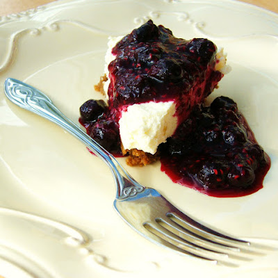 Lemon Cheesecake with a Blueberry & Raspberry Topping