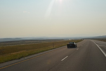 smoke filled skies as we approach the Big Horn Mountains