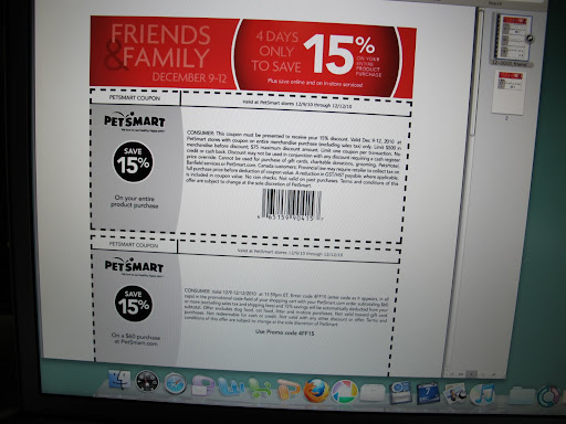 It's from Petsmart and it says that if I print this coupon out, I can bring it to PetSmart and get 15% off my ENTIRE purchase!