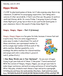 Using Hungry, Hungry Hippos in Centers to teach Literacy