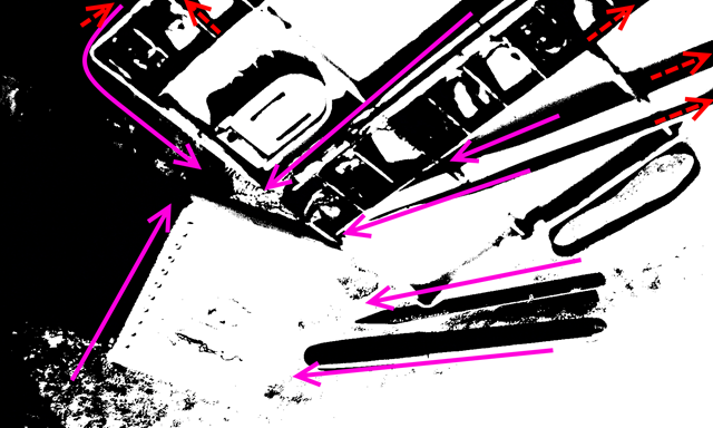 Upside down black/white image showing the likely visual flow