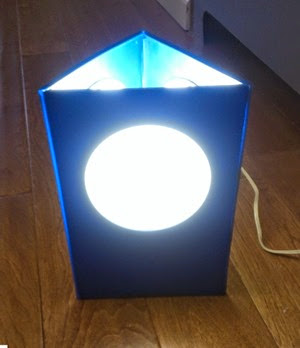 Plastic triangle lamp blue on