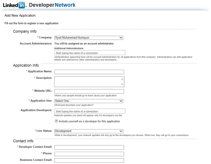 linkedin developer new application
