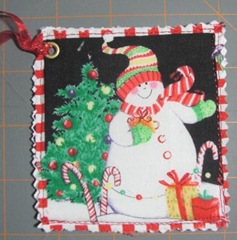 2011 Christmas fabric gift tag snowman2