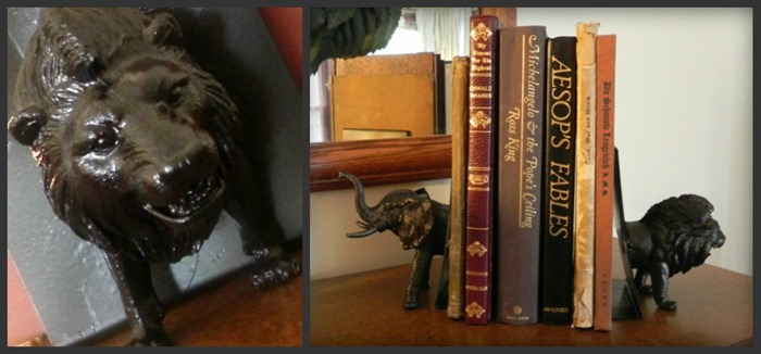 sytyc dollar store faux bronze animal head bookends