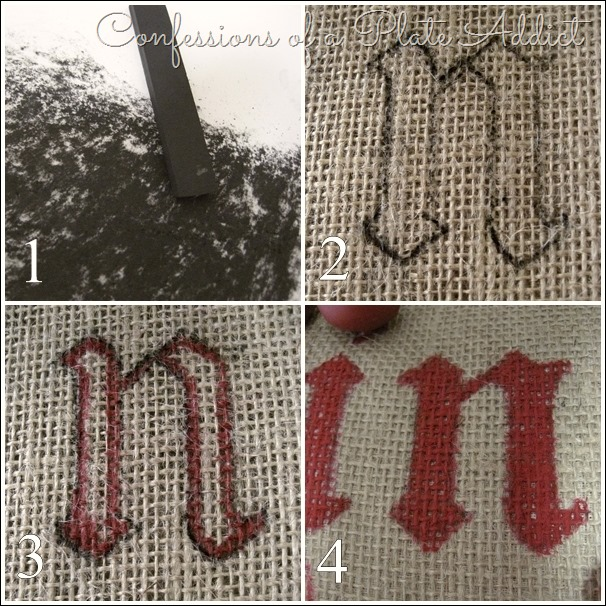 CONFESSIONS OF A PLATE ADDICT Tutorial for Lettering on Burlap