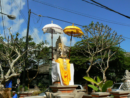 Bali tradition: temple with umbrellas