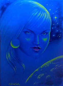 Ocean blue eyes in the skyes fluorescent drawing