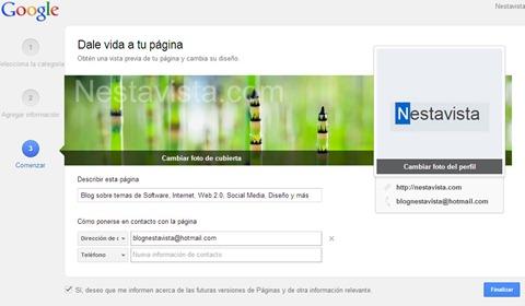 interfaz de tu nueva página en google plus