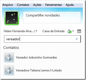 Políticos no seu Windows Live Messenger