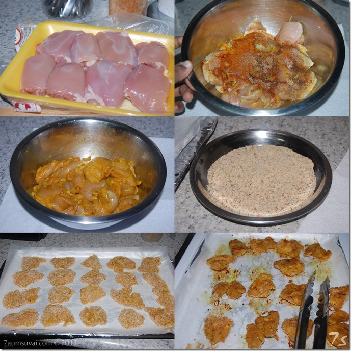 Baked chicken nuggets process