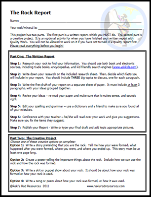 Rock Project - a perfect opportunity to allow students to present information to their peers.  from Raki's Rad Resources