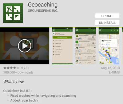 Geocaching version 3.0.1 for Android