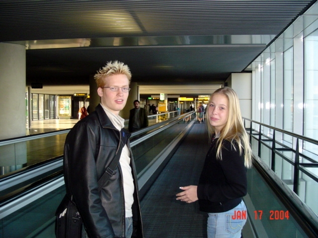 leontien and matt at schiphol airport in Amsterdam, Noord Holland, Netherlands