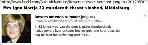 NORTJE INA 33  MURDERED BY KIDNAPPERS VERENA WITBANK may302012