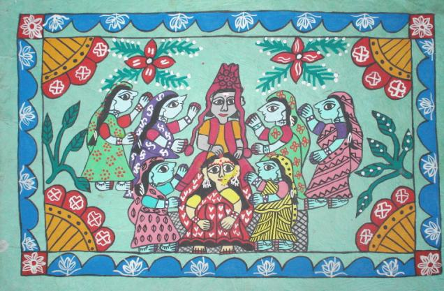 Mithila Folk Water Color Art