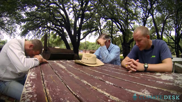 Texas ranchers pray for rain in August 2013. Relentless drought and hydro-fracking threaten to cause at least 30 community to run out of water b the end of the year. Photo: The Guardian