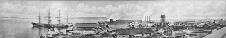 Vista panoramica del puerto de Vancouver. La barca CURZON, y el remolcador COMMODORE. Ca. 1912. City of Vancouver Archives.jpg