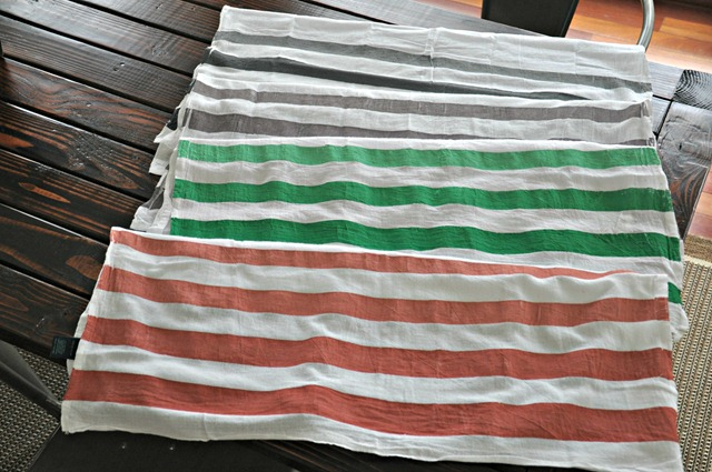 quick and easy striped ombre tea towels