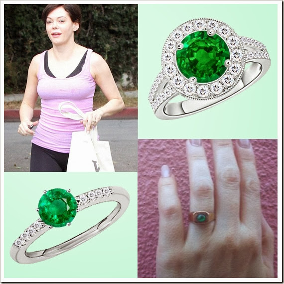 Rose McGowan Emeralds Studded Engagement Ring