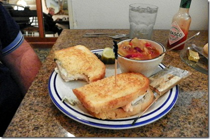 Don had grilled chicken with artichoke/spinach spread on sour dough with a bowl of cabbage soup/chili.