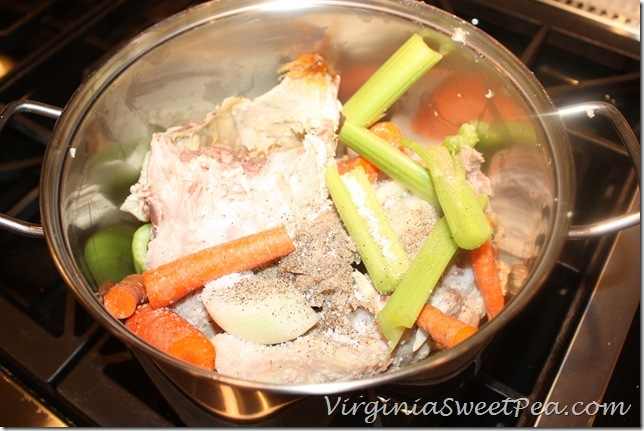 Turkey Carcass with Carrots, Onion, Celery