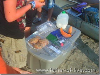 Sand bar camp breakfast