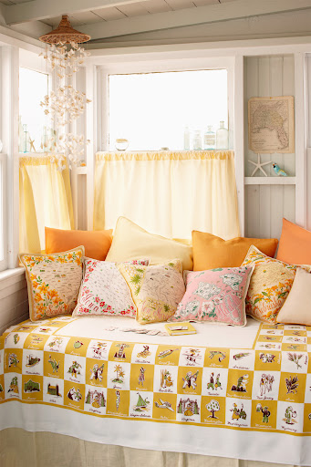 Map textiles make great pillows. (Martha Stewart Living, July 2010)