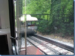 8790 Lookout Mountain, Tennessee - Incline Railway - going up - the 'Switch' at the halfway point where the two cars pass alongside each other