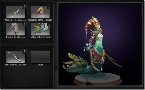 Naga Siren equipped with Designs of the Slithereen Nobility set