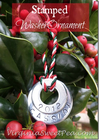 Stamped Washer Christmas Ornament by Virginia Sweet Pea
