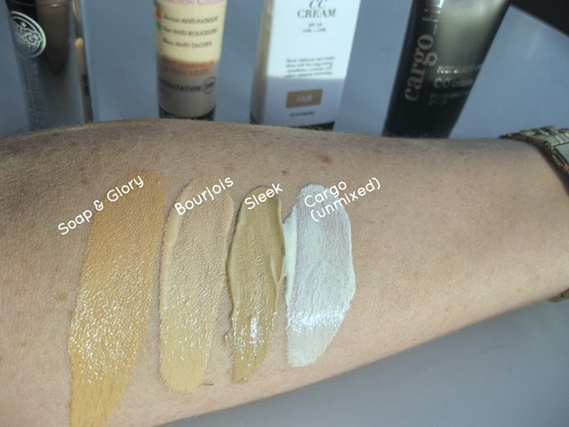 Soap&Glory-CC,Bourjois-CC,Sleek-CC,Cargo-CC-Cream-swatches