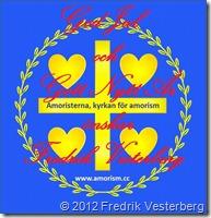 Bild logotyp blått guld med Amoristerna kyrkan för amorism (1) förstorad ändrad ej original Med God Jul och Gott Nytt År