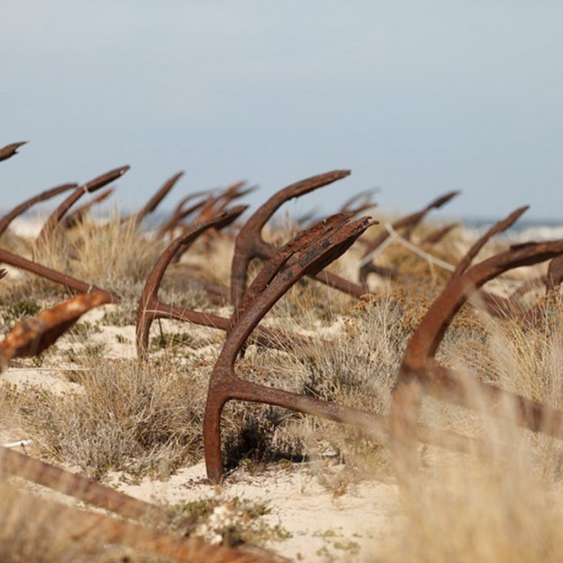 Anchors Graveyard at Tavira Island of Algarve, Portugal