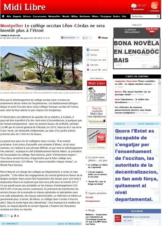 Leon Còrdas a Montpelhièr Midi Libre 020612