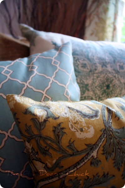 pottery barn pillows blue yellow