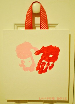 Valentines Day handprint heart canvas-2