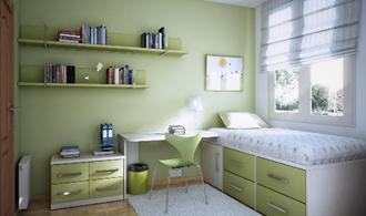kamar tidur anak hijau