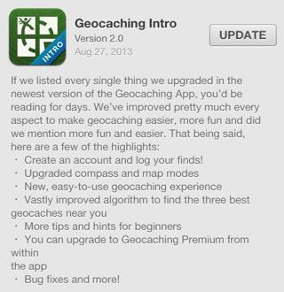 Geocaching Intro version 2.0 iOS