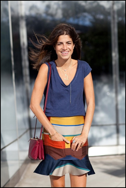 STREET-STYLE-BLOGGER-STYLE-MAN-REPELLER-LEANDRA-MEDINE-FASHION-WEEK-SS-SPRING-SUMMER-2013-STRIPE-COLOR-BLOCK-FLARE-HEM-SKIRT-BASIC-TEE-TSHIRT-LAYERED-NECKLACES-CELINE-BURGUNDY-RED-CROSS-BODY-BAG (1)