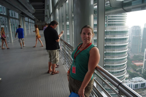 Heather in the Twin Towers' Skybridge.