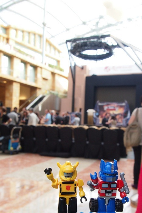 Optimus Prime and Bumblebee at the Cybertron Con Stage