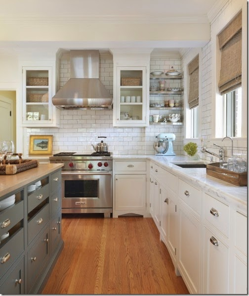 white subway tile in kitchen