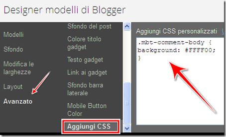 come modificare sfondo background modulo commenti proprietario blog blogger