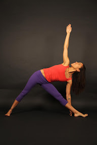 Uthita Trikonasana: Extended Triangle Pose. The body makes 9 triangles.