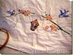 Pillowcase embroidery in process