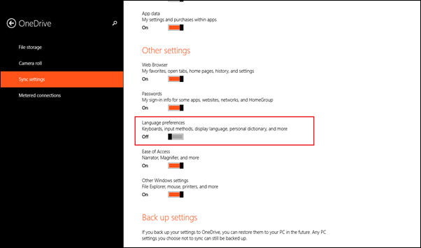 sync setting Windows 8