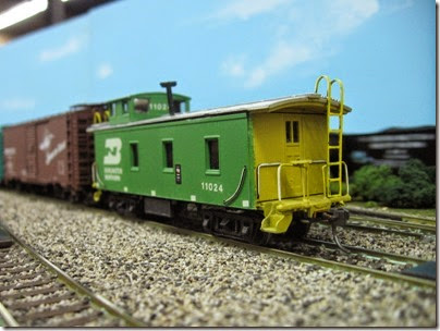 IMG_5451 Burlington Northern Caboose #11024 on the LK&R HO-Scale Layout at the WGH Show in Portland, OR on February 17, 2007