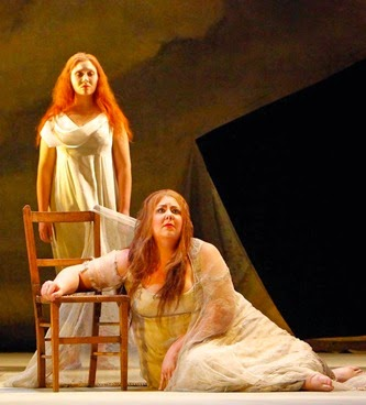 SINGER SPOTLIGHT: Sopranos MARJORIE OWENS in the title rôle (right) and Joanna Mongiardo as Naiad (left) in Richard Strauss's ARIADNE AUF NAXOS at Boston Lyric Opera in 2010 [Photo by Jeffrey Dunn, © by Boston Lyric Opera]